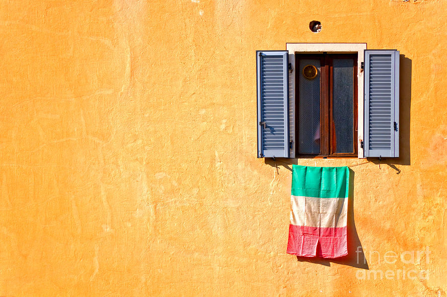 Italian Flag Window And Yellow Wall Photograph by Silvia Ganora