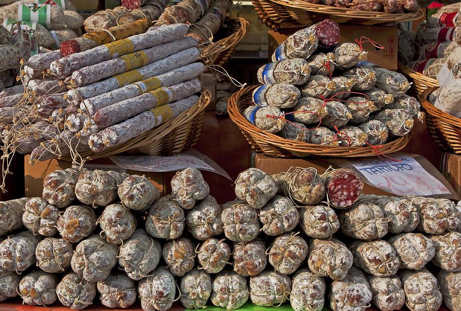 Salami Photograph - Italian Market by Joana Kruse