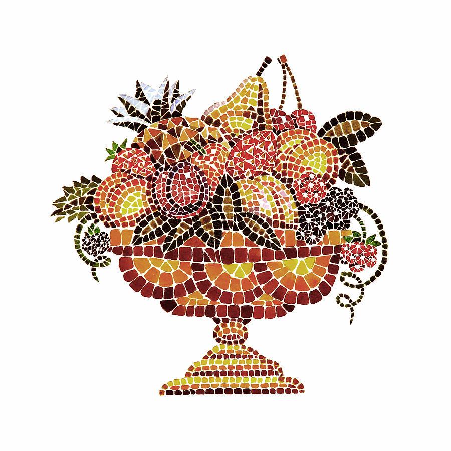 Mosaic Painting - Italian Mosaic Vase With Fruits by Irina Sztukowski