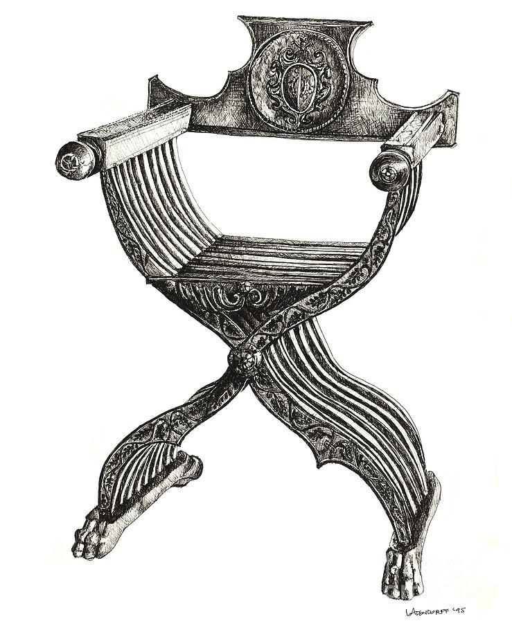 Italian Savonarola Chair Drawing by Adendorff Design