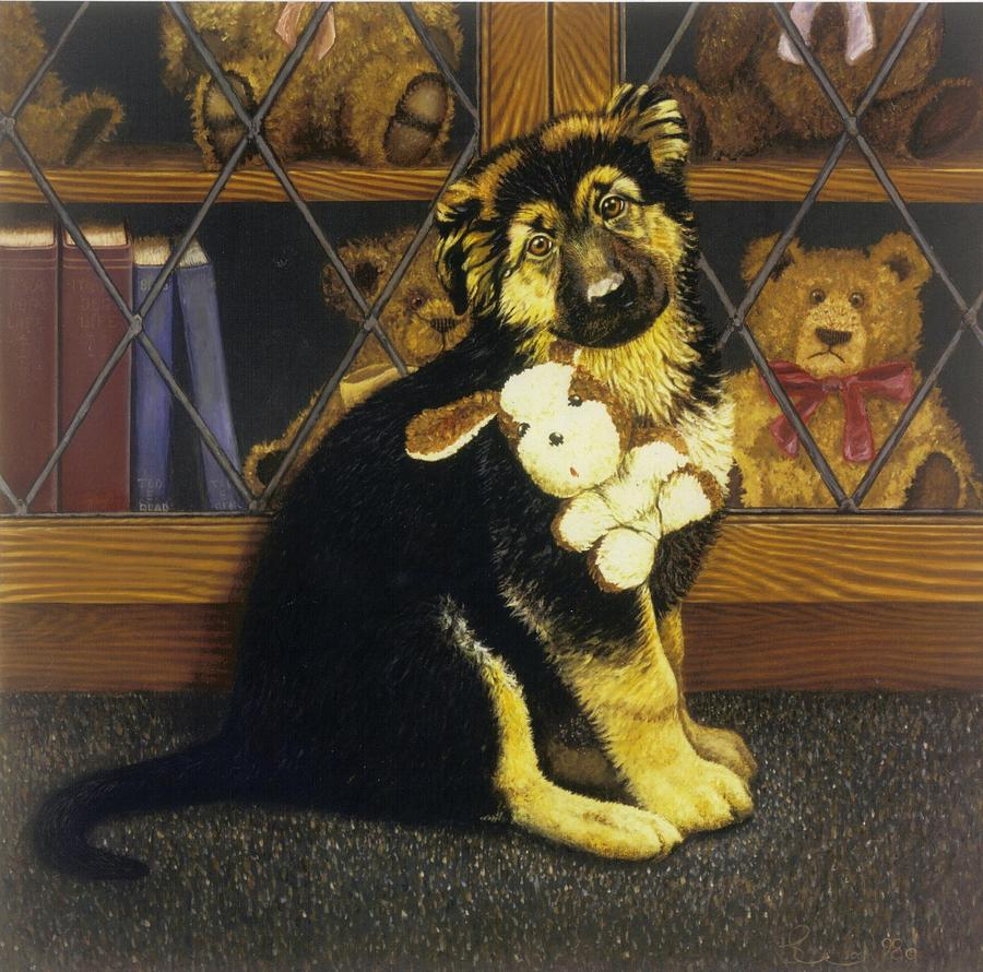 Dog  Painting - Its Mine by Steven Wood