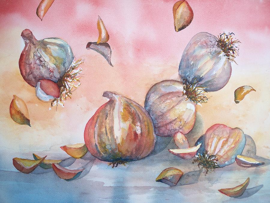Garlic Painting - Its Raining Garlic by Sandy Collier