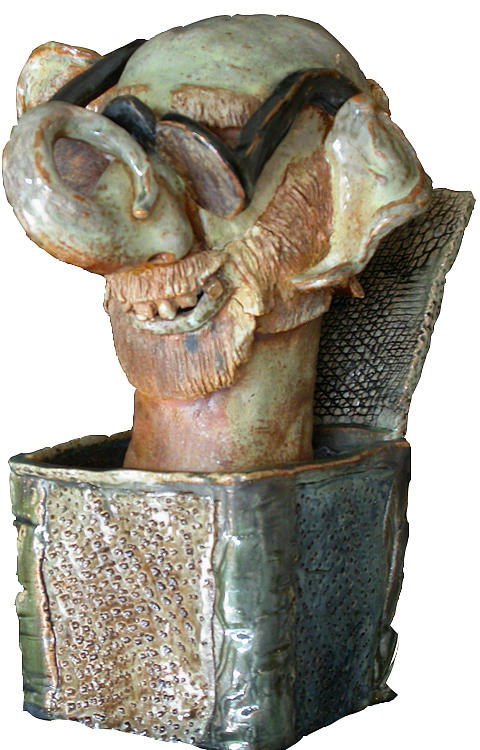 Self-portrait Ceramic Art - Jack In The Box by Jack Gaughan