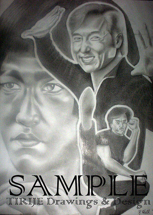 Portraits Drawing - Jackie Chan And Bruce by Rick Hill
