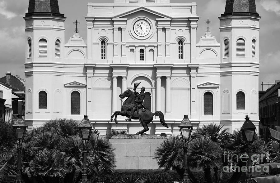 New orleans photograph jackson statue and st louis cathedral french quarter new orleans black and
