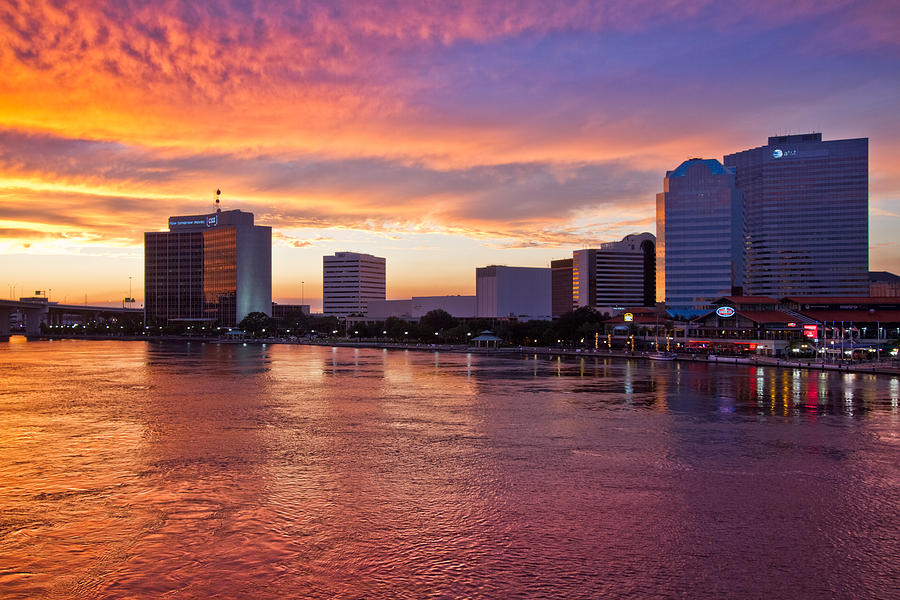 Clouds Photograph - Jacksonville Skyline At Dusk by Debra and Dave Vanderlaan