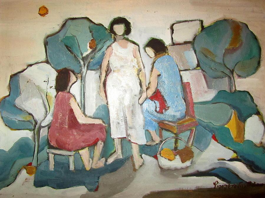 Jaffa Painting - Jaffa Ladies Impressions Of Women Sitting Outside In Nature Trees Chair Stool Talking Green White  by Rachel Hershkovitz