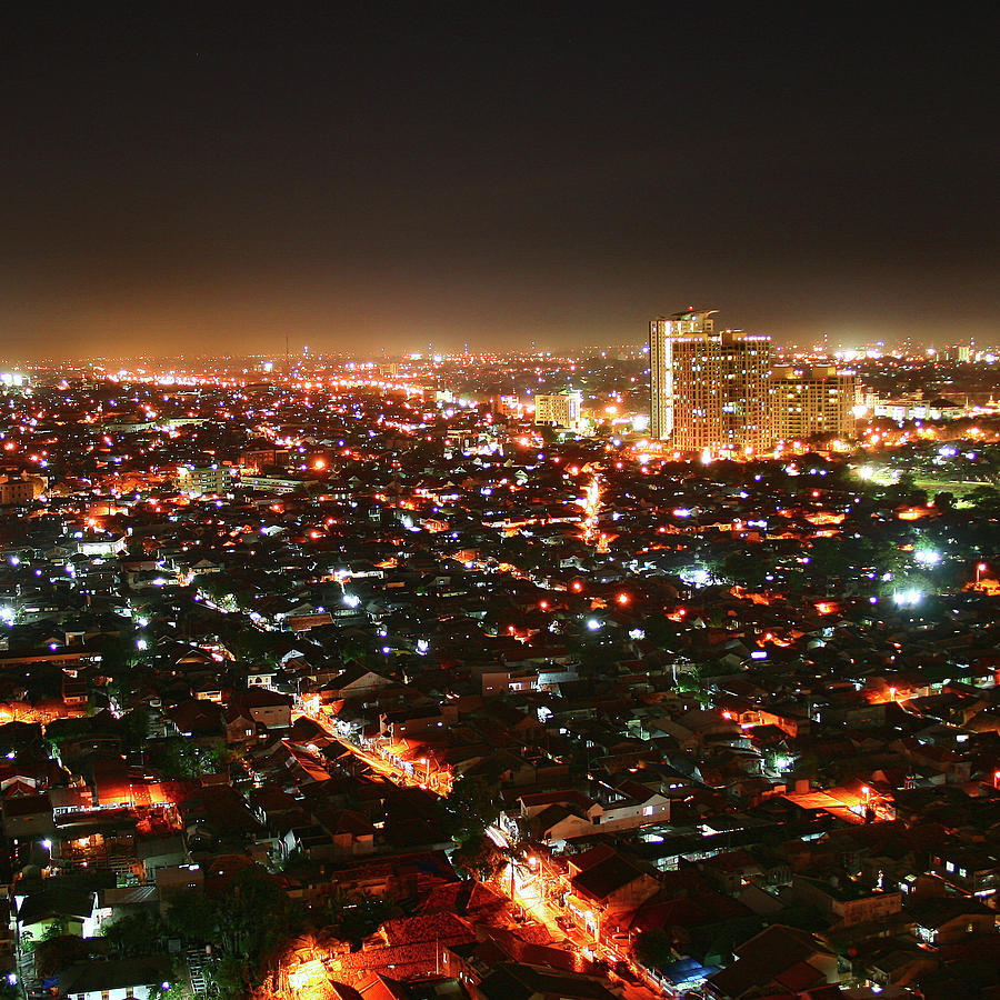 Square Photograph - Jakarta At Night by Simonlong