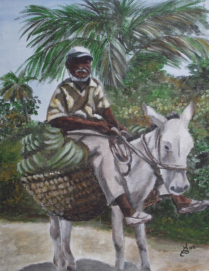 Acrylic Painting - Jamaican Donkey Power by Kim Selig