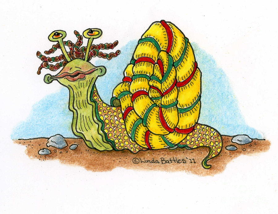 Snail Mixed Media - Jamaican Snail by Linda Battles