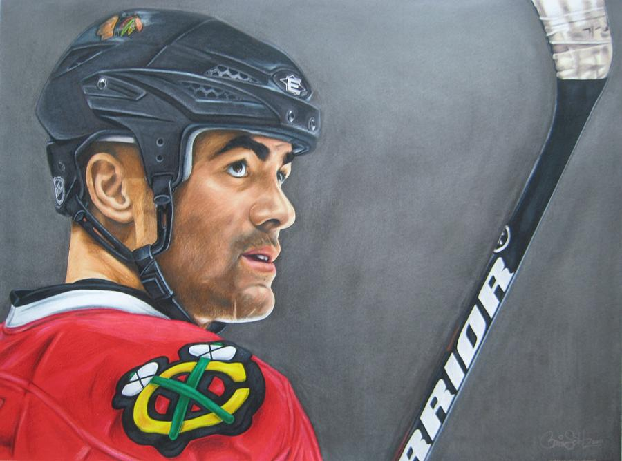 Blackhawks Drawing - Jamal Mayers by Brian Schuster