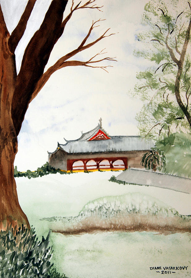 Japan Painting - Japan House by Diane Vasarkovy