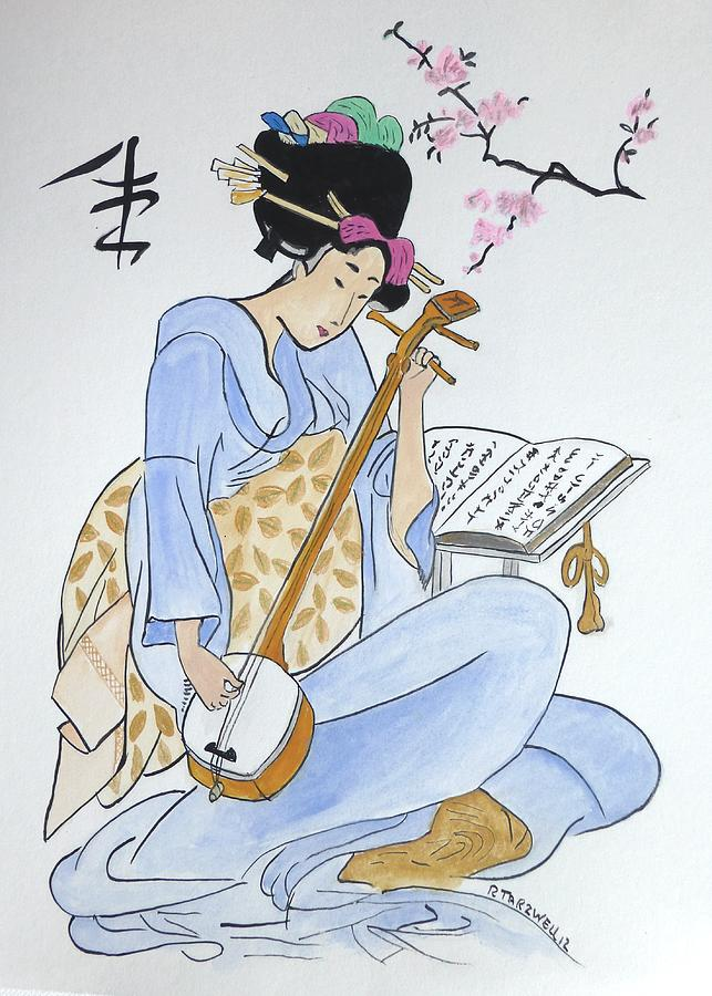 China Painting - Japan Wood Block  by Robert Tarzwell