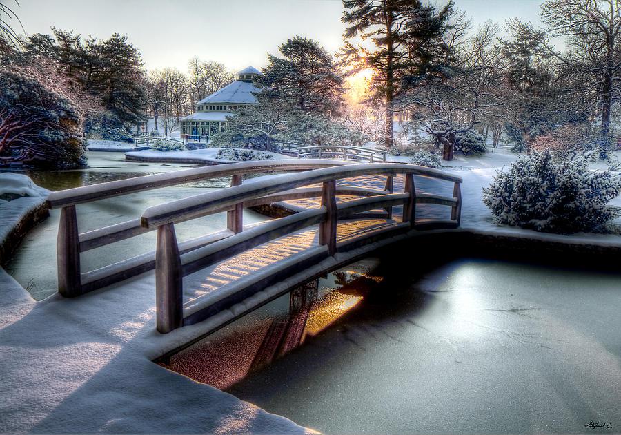 Winter Photograph - Japanese Bridge by Stephen EIS