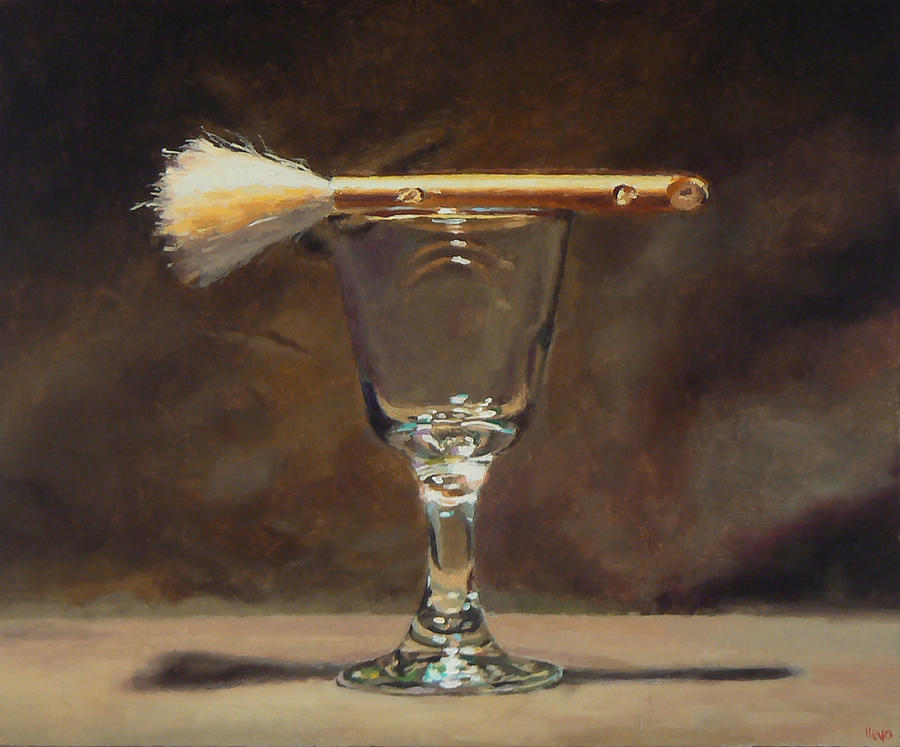 Japanese Brush And Wineglass Painting by Jeffrey Hayes