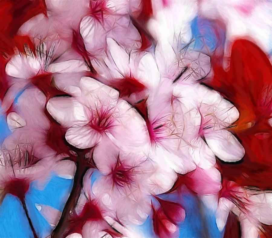 Japanese Flower Cherry Blossoms Nature Spring Fauna Oil Pastel Painting Red Pink White Sky Color Colorful Expressionism Abstract Beauty Still Life  Pastel - Japanese Flower by Steve K