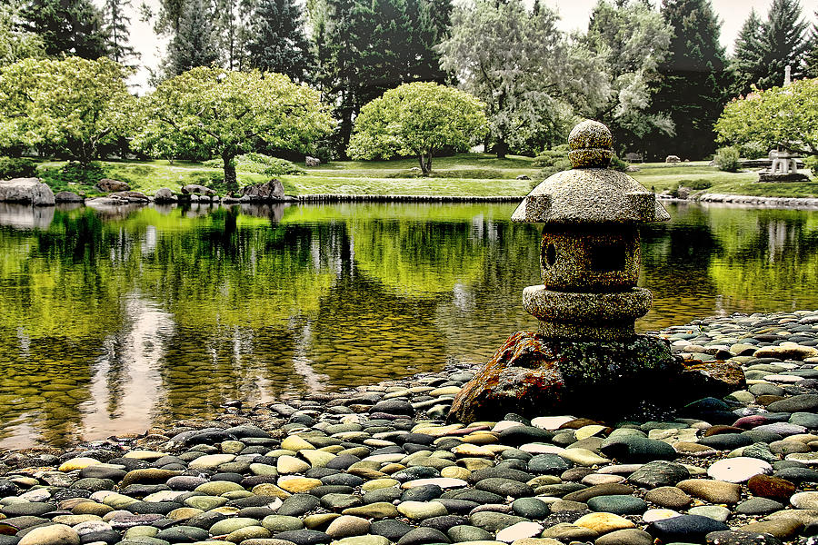Japanese Pyrography - Japanese Garden by Andre Salvador