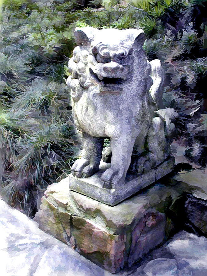 Charmant Japanese Garden Painting   Japanese Garden Lion Dog Statue 1 By Elaine  Plesser