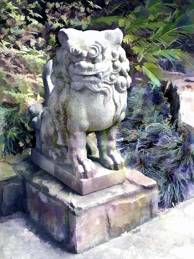 Japanese Garden Painting   Japanese Garden Lion Dog Statue 2 By Elaine  Plesser