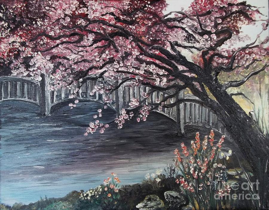 japanese garden cherry blossom paintings garden painting japanese garden by rhonda lee