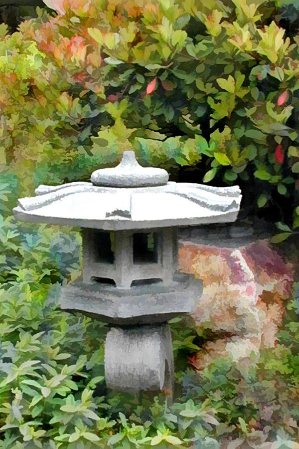 Japanese Garden Stone Snow Lantern Painting By Elaine Plesser