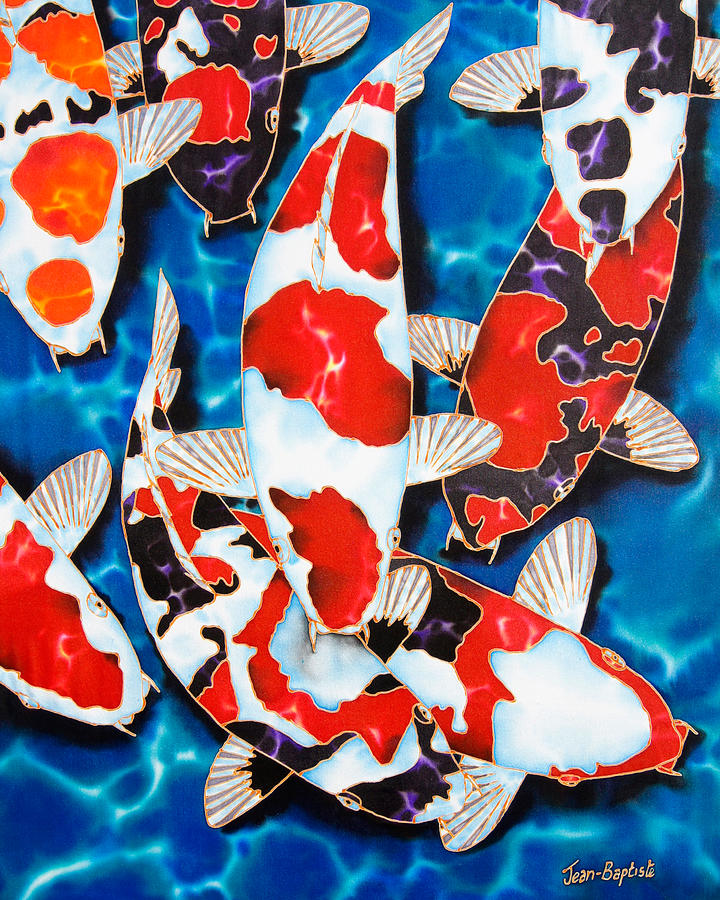 Japanese koi pond painting by daniel jean baptiste for Koi japanese art