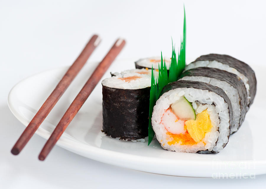 Japanese sushi traditional food with chopsticks photograph for Aroma japanese cuisine