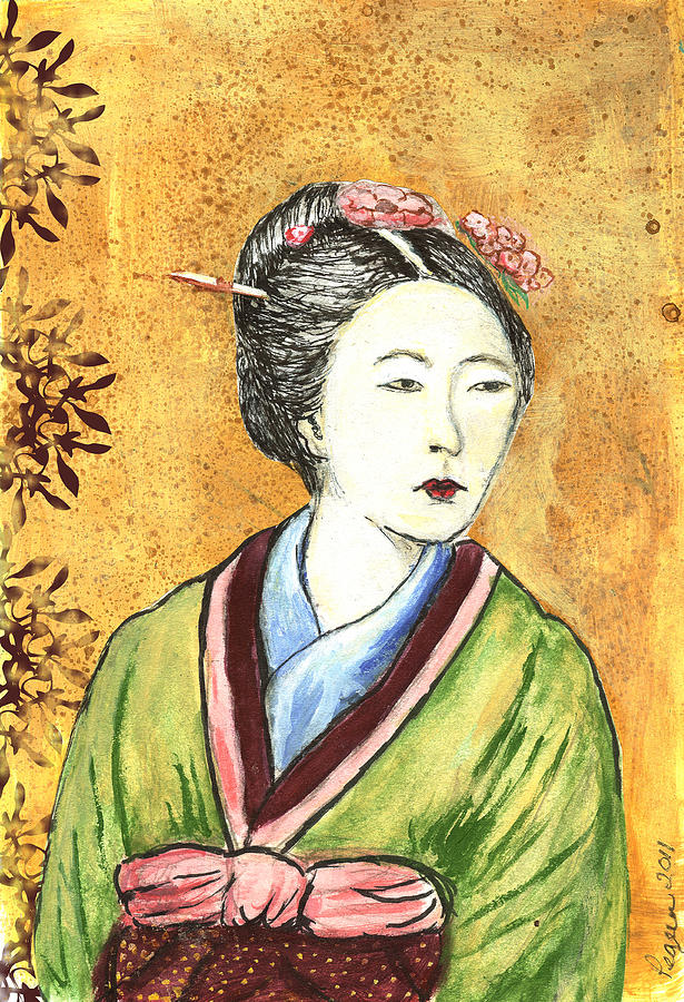 Woman Painting - Japanese Woman by Pegeen  Shean