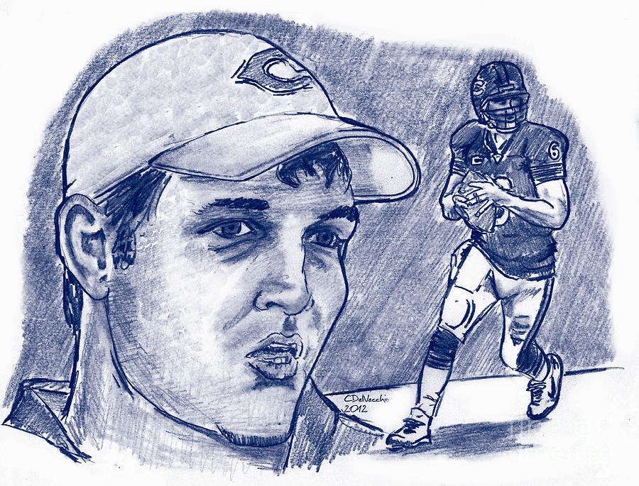 Jay Cutler Drawing by Chris  DelVecchio