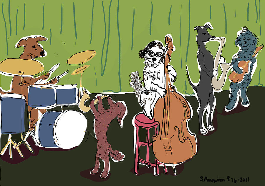 Jazz Dogs Drawing By Susie Morrison