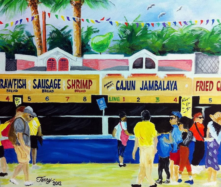 Jazz Fest Painting - Jazz Fest Food by Terry J Marks Sr