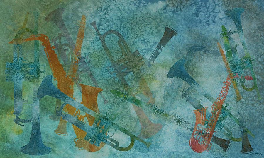 Jazz Painting - Jazz Improvisation One by Jenny Armitage