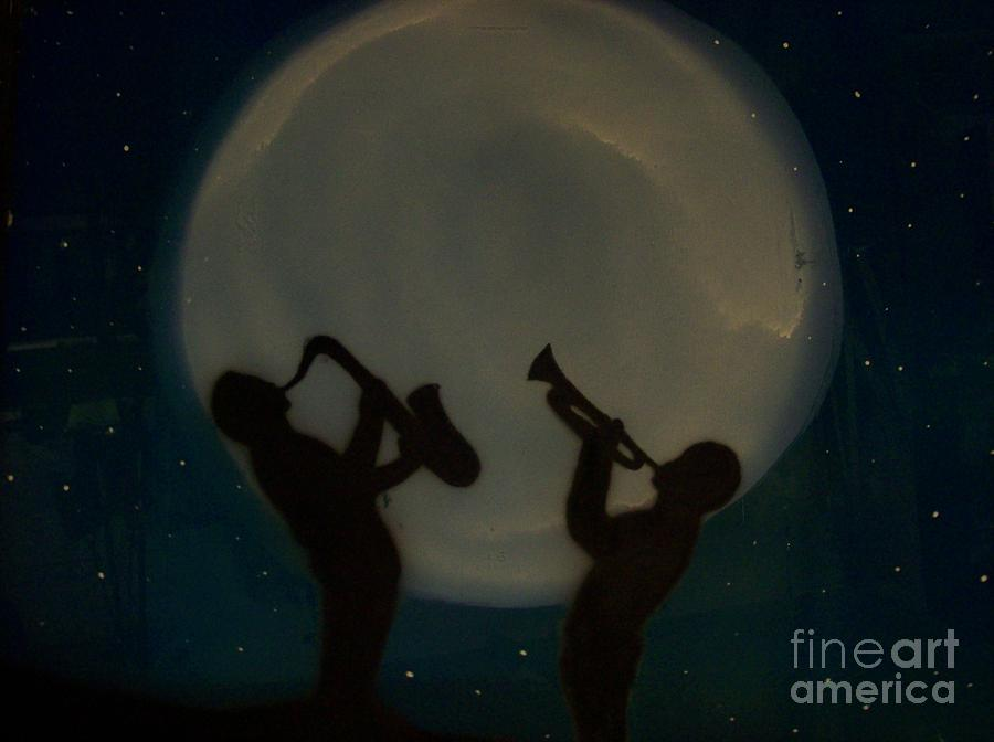 White Moon Glass Art - Jazzing At The Moon by Damion Powell