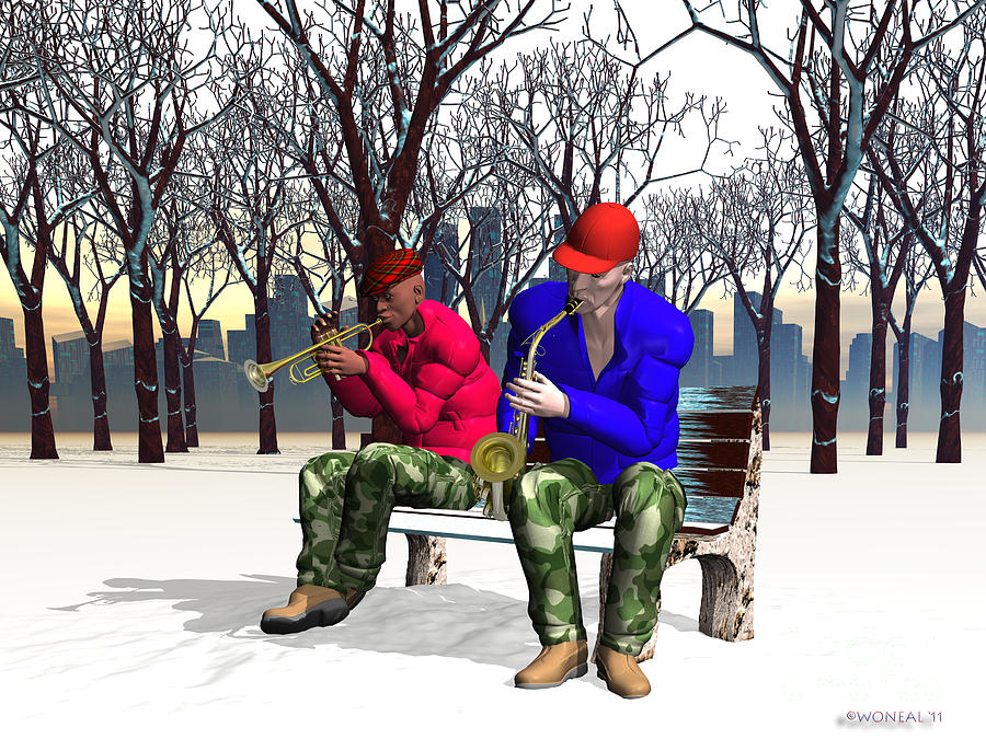 Figures Digital Art - Jazzmas In The Park 1 by Walter Oliver Neal
