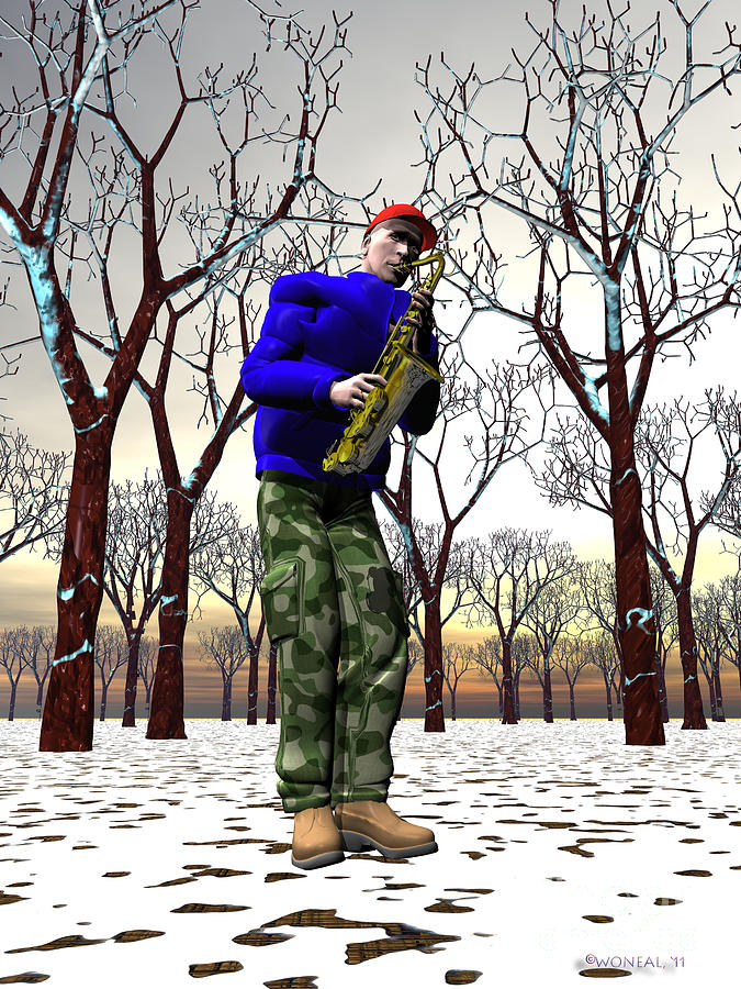 Figures Digital Art - Jazzmas In The Park 3 by Walter Oliver Neal