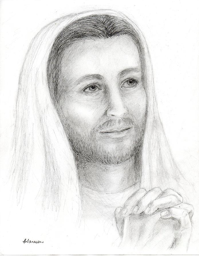 Jesus Drawing - Jc2 - Jesus Praying by Cathy Samson
