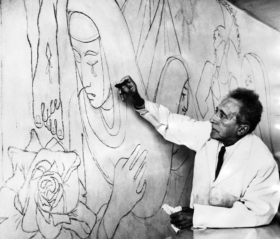 1950s Photograph - Jean Cocteau Works On A Mural by Everett