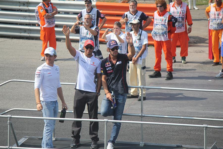 Lewis Hamilton Photograph - Jean-eric Vergne Lewis Hamilton And Nico Rosberg by David Grant