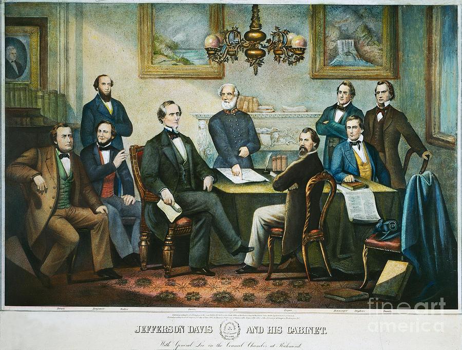 Jefferson Davis & Cabinet Photograph by Granger