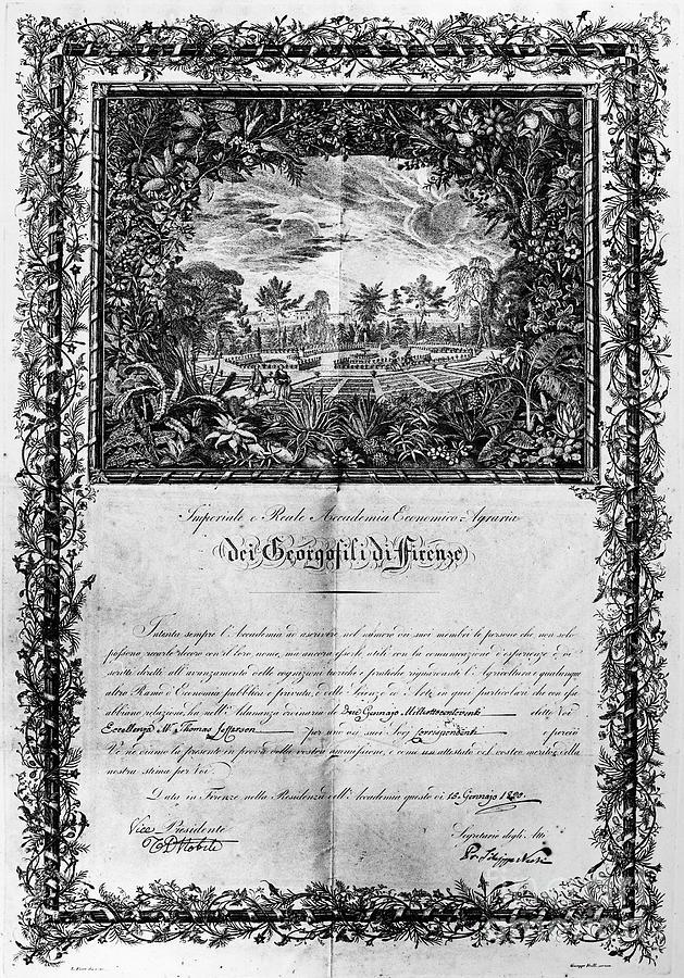1820 Photograph - Jefferson: Degree, 1820 by Granger