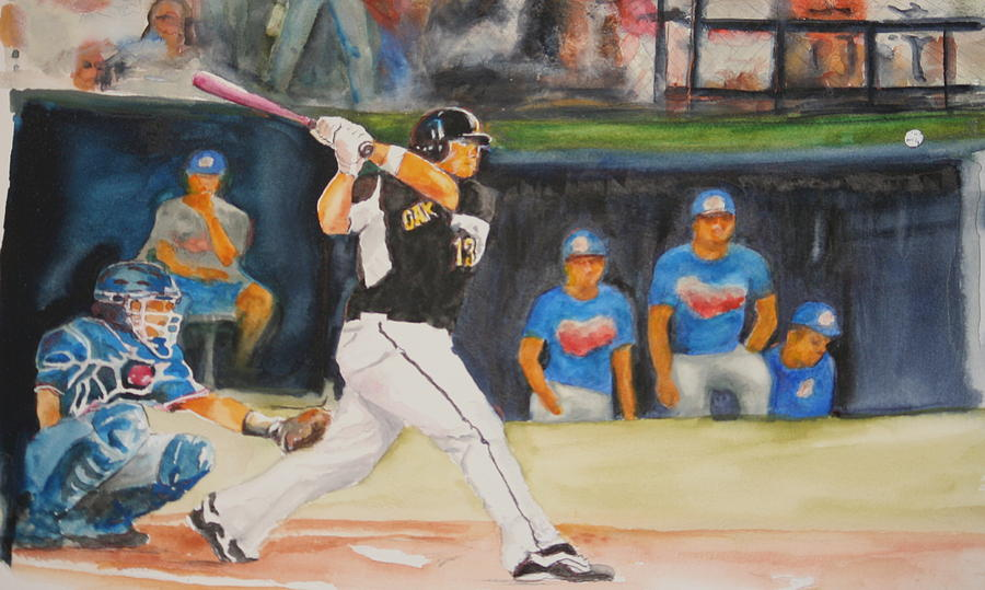 Baseball Painting - Jensen At The Plate by Bobby Walters
