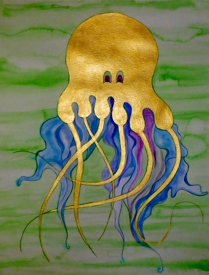 Jellyfish Painting - Jeremiah The Jellyfish by Erika Swartzkopf