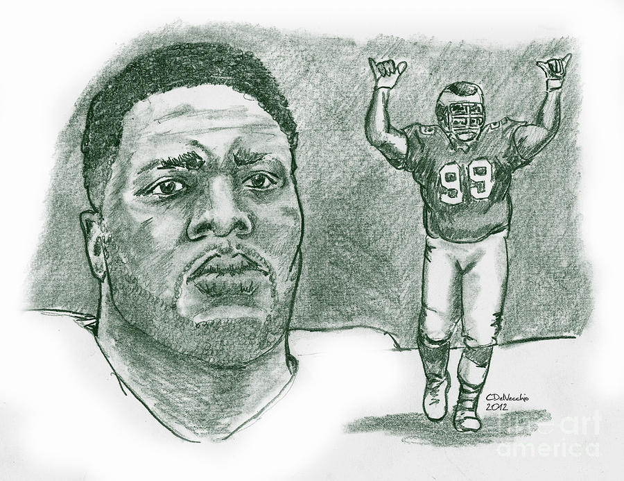 Jerome Brown Drawing by Chris  DelVecchio