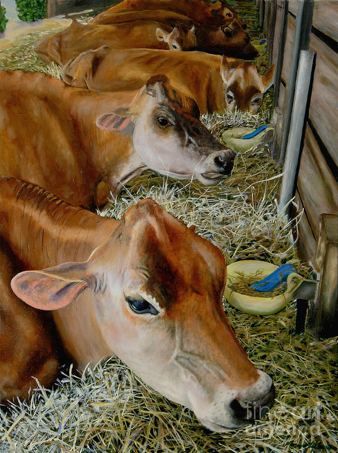 Cow Painting - Jersey Girls Before The Show by Aaron Wilbers