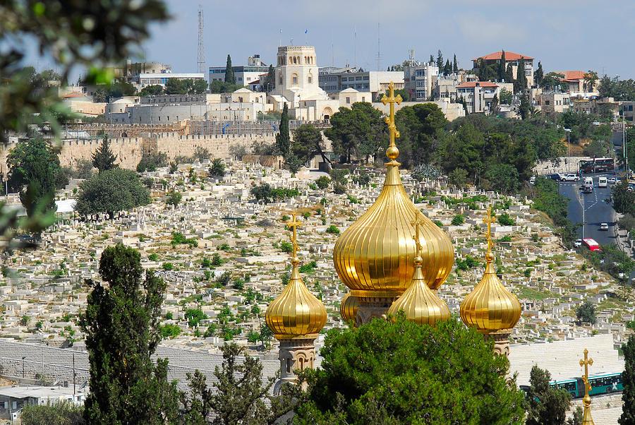 Mount Of Olives Digital Art - Jerusalem Church Of St Mary Magdalene  by Eva Kaufman