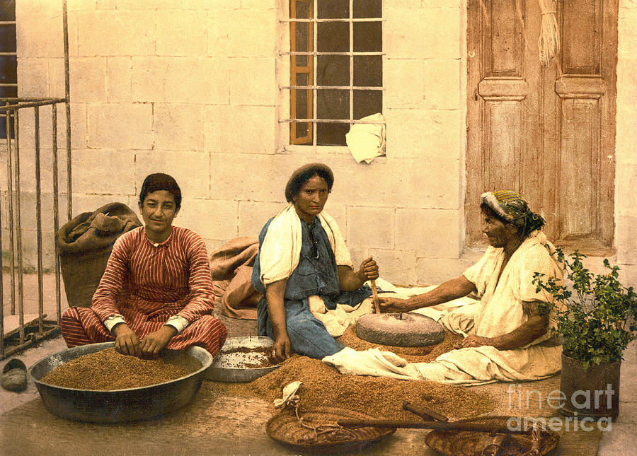 Photochrom Prints Photograph - Jerusalem Women Grinding Corn 1895 by Padre Art