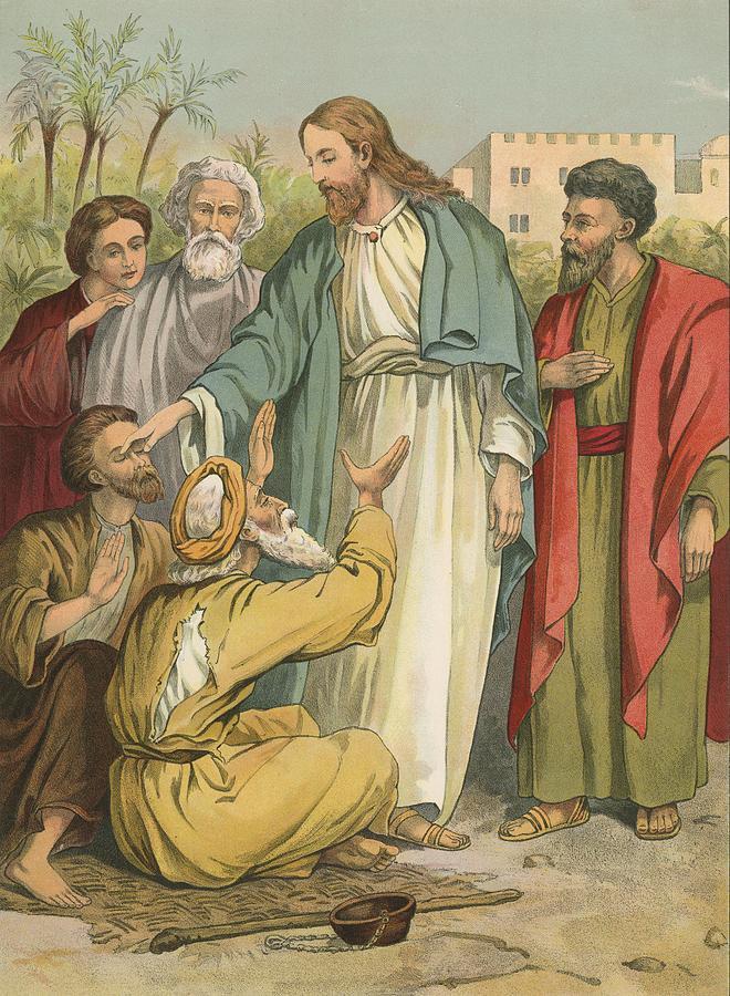 Bible; Children's; Jesus Christ; Blind Men Painting - Jesus And The Blind Men by English School