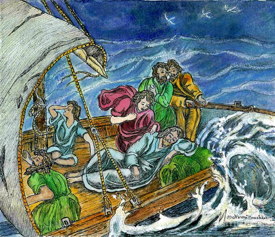 Watercolor Painting - Jesus Asleep In The Storm by Norma Boeckler