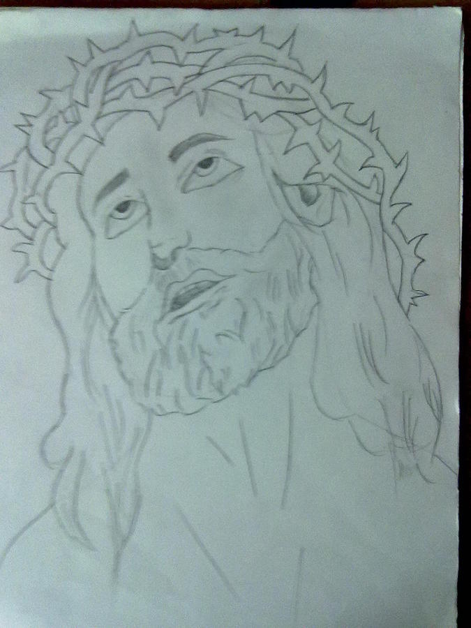 Jesus Drawing - Jesus by Bishoy Girgis