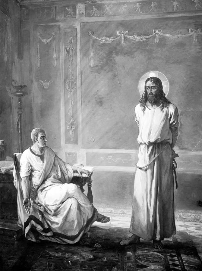 1900s Photograph - Jesus Christ, Title Jesus Christ Tried by Everett